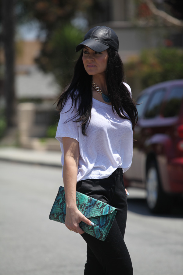 White Top and Black Pants - Glam Latte