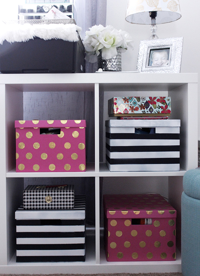 Ordinaire ... Ottoman: Target, Storage Boxes: Ikea (DIY Dots And Stripes), Stapler,  Tape Dispenser, Bow Paper Clips, Pencil Holder: Kate Spade Via Couture  Gifts, ...