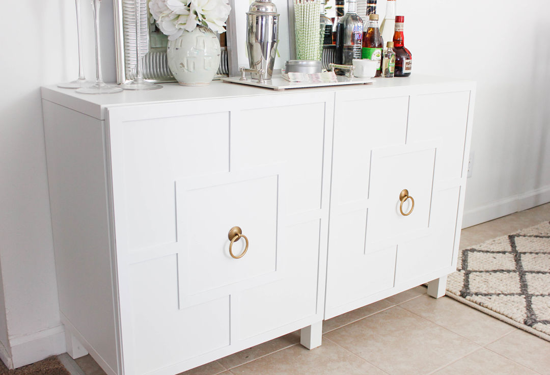 Diy ikea hack besta cabinet two ways glam latte What can i put on my sideboard