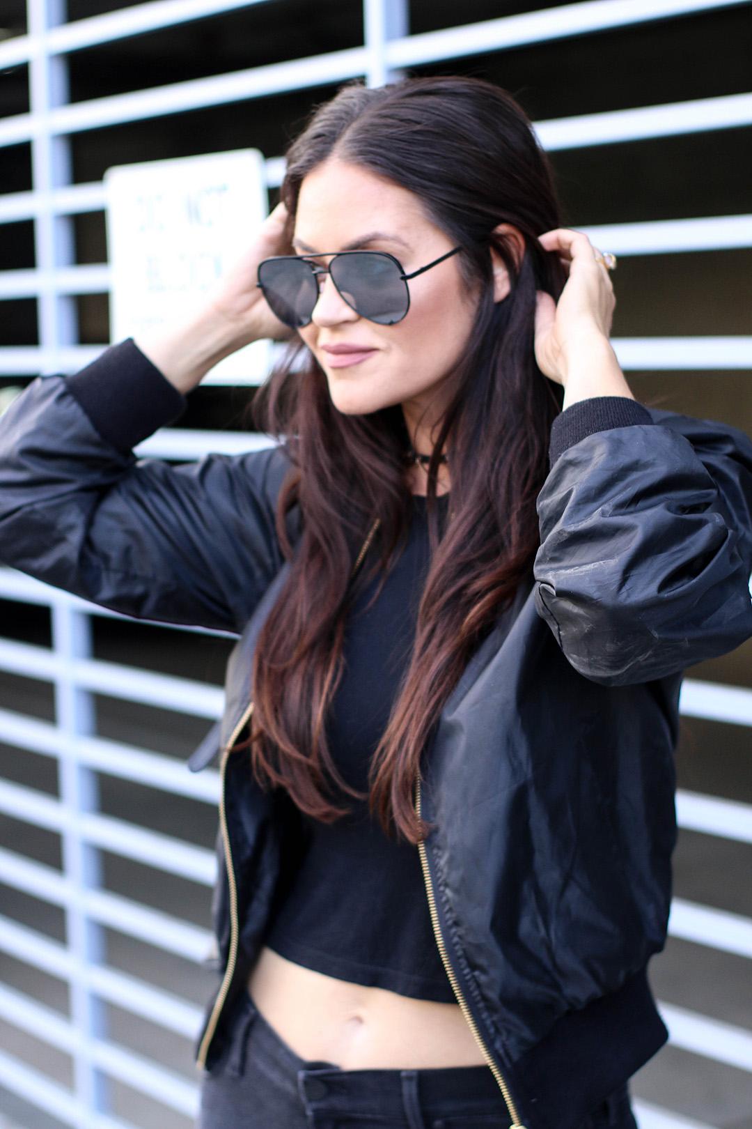 crop top, high key sunglasses
